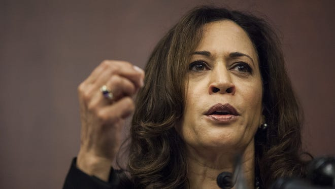 Sen. Kamala Harris, D-Calif. speaks during a news conference on Capitol Hill.