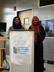 Burlington High School students Hawa Adam and Balkisa Abdikadir speak about the school's school substance about prevention group. They are also part of the local poetry group Muslim Girls Making Change.