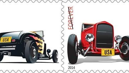 Two new forever stamps with hot rod themes will be unveiled at a noon press conference at Fourth Street Live! on Wednesday.