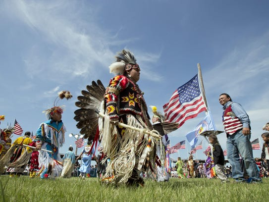 Members of the Standing Rock Sioux Tribal Nation dance