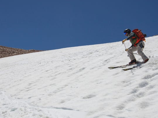 Skiing sun-cupped snow on Wheeler Peak on Saturday June 10th 2017, at Great Basin National Park near Baker NV.