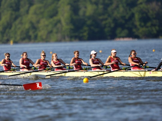 Indiana University's rowing team competes in the NCAA Championships at Eagle Creek Park last June.