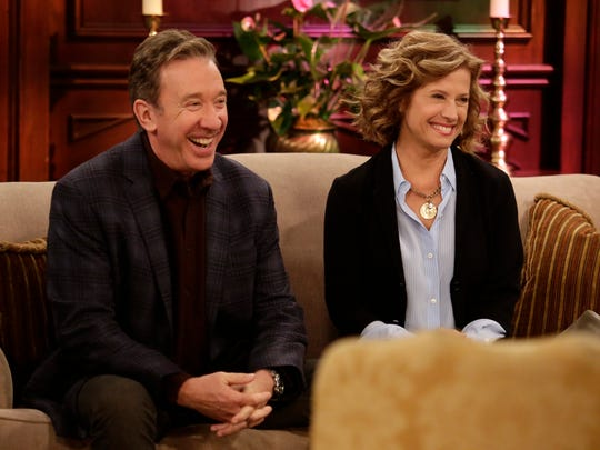 """Tim Allen, left, and Nancy Travis star in ABC's 'Last Man Standing,' which was renewed Friday for a sixth season.  LAST MAN STANDING - """"The Marriage Doctor"""" - When Mike finds out future son-in-law Kyle fears meeting with the church's new minister (guest star Bill Engvall), Mike tells Kyle to use him and Vanessa as a strong marriage example. But a recent argument ends up sending them to the minister instead. Meanwhile, Ryan helps Eve with her assignment to debate from the opposite side of her politically conservative beliefs, on """"Last Man Standing,"""" FRIDAY, APRIL 15 (8:00-8:31 p.m. EDT) on the ABC Television Network. (ABC/Nicole Wilder) TIM ALLEN, NANCY TRAVIS"""