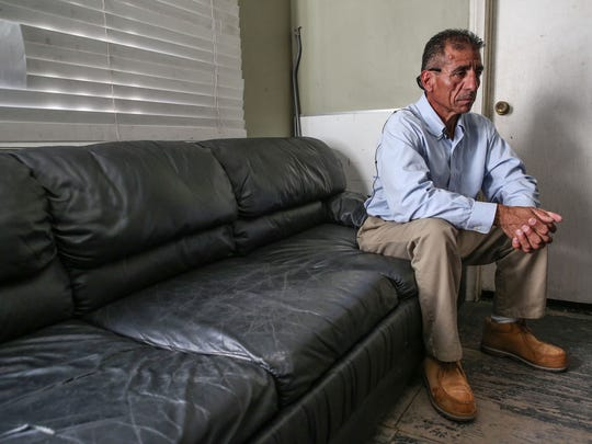 Ruben Lopez Jr., a meth addict who was released under Prop 47 after 20 years in prison, spends his nights in his cousin's auto shop in Downey, Calif.