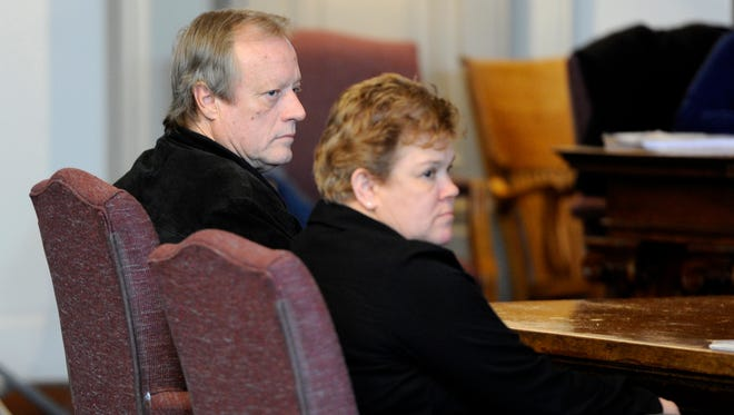 David Rutter sits with his attorney, Lori Rankin, during his hearing Wednesday in front of Common Pleas Judge Scott Nusbaum at the Ross County Courthouse. Rutter's defense entered a plea of not guilty regarding his alleged involvement in the Chestnut Hill shooting last July.