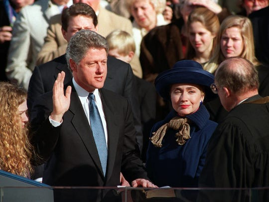 Bill Clinton takes the oath of office as the 42nd U.S.