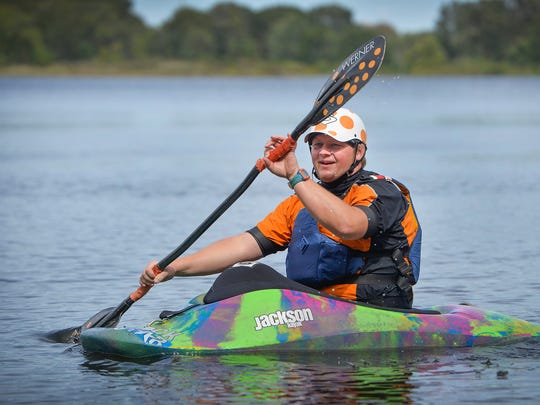 Rural Clear Lake kayaker Brian Imholte paddles Saturday, Sept. 3, 2016, at Warner Lake County Park. The 35-year-old recently won the Midwest Freestyle Whitewater Championships intermediate title in Wisconsin.