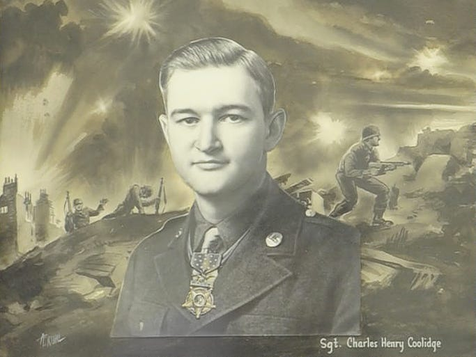 A portrait of Charles Coolidge Sr. as he is posed a