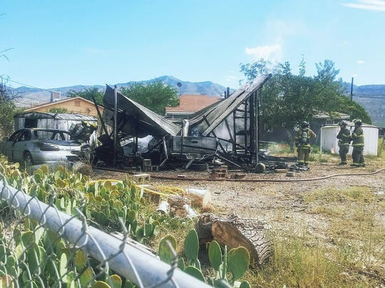 Alamogordo Fire Department firefighters extinguished a fire on the 1500 block of Bellamah Drive that started around 10 a.m. Wednesday morning.