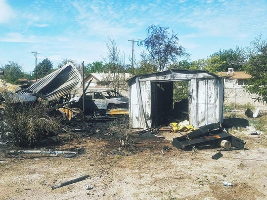 A fire destroyed a shed and damaged two vehicles on the 1500 block of Bellamah Drive that started around 10 a.m. Wednesday morning.
