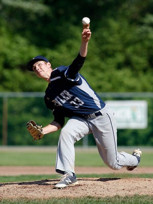 Fowler's Dane Armbrustmacher pitches against St. Johns Monday, May 22, 2017, at Municipal Park Lansing, Mich.