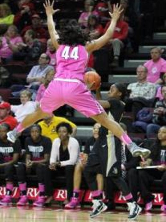 Betnijah Laney and the rest of the Rutgers women's basketball team wore pink jerseys for a good cause last season against Central Florida and will do so again Sunday against Purdue. (File photo)