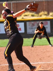 Alamogordo senior Sierra Gentry throws a pitch during the first round of the Class 6A state playoffs.