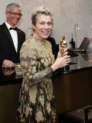 """Frances McDormand, winner of the award for best performance by an actress in a leading role for """"Three Billboards Outside Ebbing, Missouri"""", attends the Governors Ball after the Oscars on March 4, 2018, at the Dolby Theatre in Los Angeles."""
