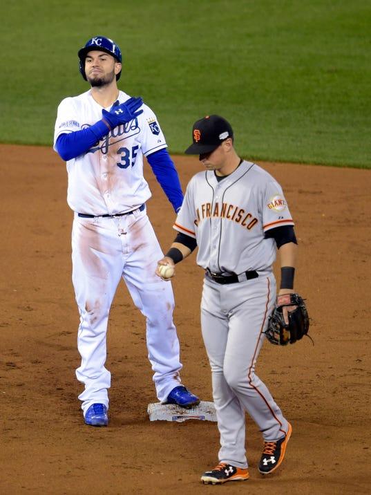 USP MLB: WORLD SERIES-SAN FRANCISCO GIANTS AT KANS S BBO USA MO