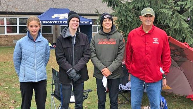 The Tekonsha Indians saw two of their XC runners advance on to the MHSAA State Finals as Dani Van Lente (far left) and Marco Barron (second from right) both advanced on. Also pictured is Tekonsha's head coach and teammate Alex Morgensai (second from left).