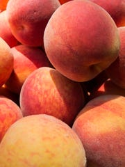 Picked peaches sit at Brown's Orchards & Farm Market.