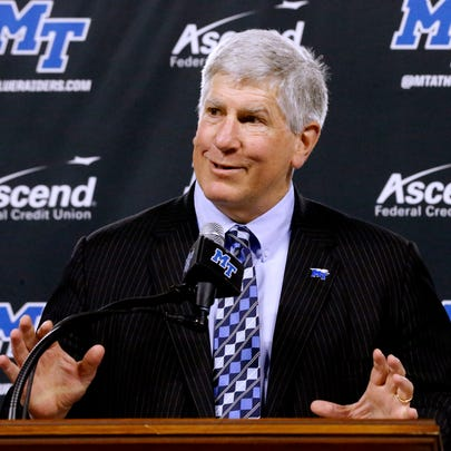 MTSU Athletic Director Chris Massaro speaks during