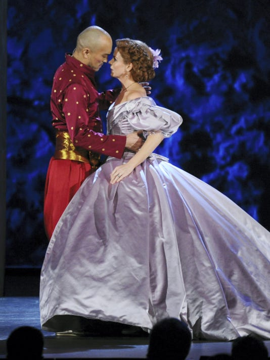 """Ken Watanabe, left, and Kelli O'Hara of """"The King and I"""" perform at the 69th annual Tony Awards at Radio City Music Hall on Sunday, June 7, 2015, in New York. (Photo by Charles Sykes/Invision/AP)"""