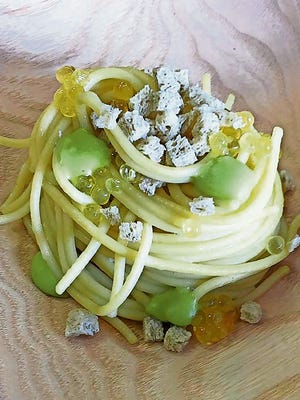 Kamut Spaghetti with fir pesto, Arctic Char roe, and Hay Bread.