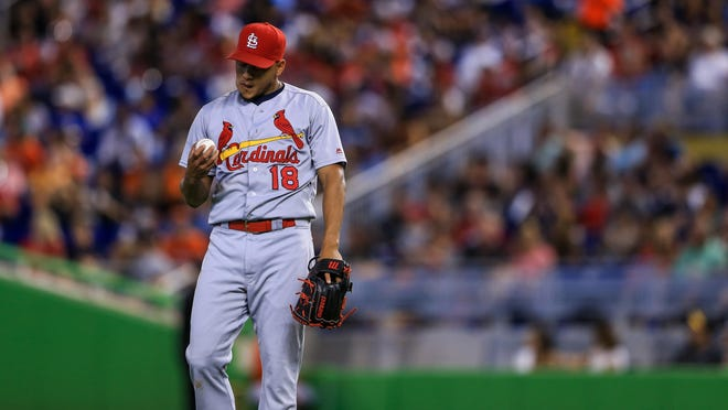 The Cardinals' Carlos Martinez allowed four runs and seven hits in seven innings of work Sunday against the Miami Marlins.