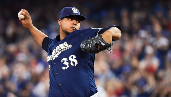 Brewers starter Wily Peralta pitched six innings on Tuesday night.