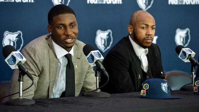 Memphis Grizzlies draft picks Jaren Jackson Jr., left, and Jevon Carter take questions from the media during Friday's press conference at FedExForum.