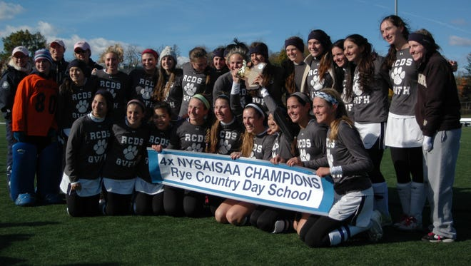 Rye Country Day players pose with the NYSAIS championship banner after winning the tournament for the fourth consecutive year.