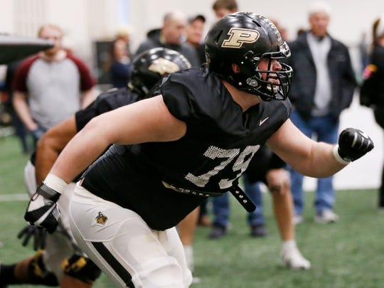 Junior offensive lineman Matt McCann (79) during Purdue spring football practice Wednesday, March 21, 2018, inside the Mollenkopf Athletic Center.