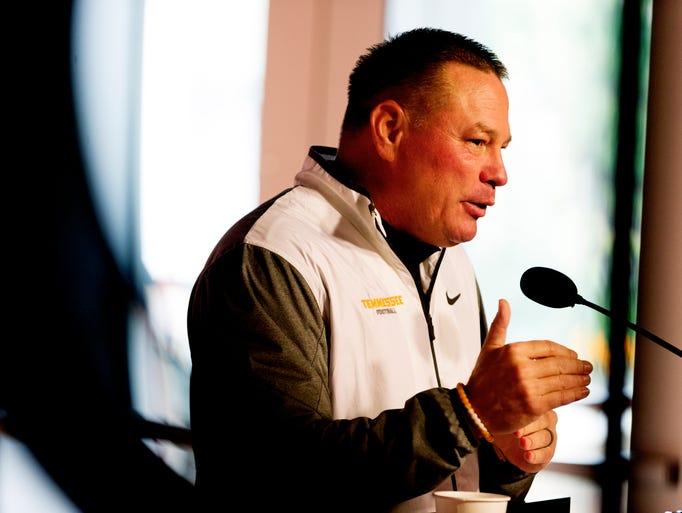 Tennessee Head Coach Butch Jones speaks to the media
