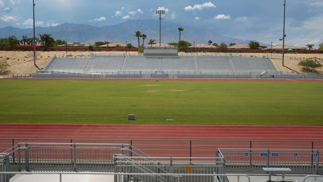 The athletic field at Rancho Mirage High School. Former NFL players agent Jerry Argovitz is donating a million dollars to the Palm Springs Unified School District to start the Jerry Argovitz Sports Institute at Rancho Mirage High School. The school will name its stadium after Argovitz.