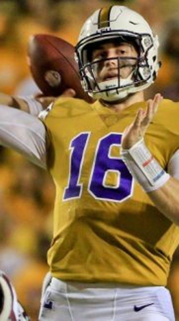LSU quarterback Danny Etling made his first LSU start
