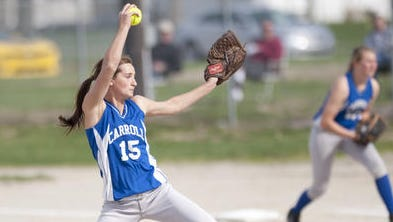 Carroll's Carly Kingery leads the area in strikeouts and innings pitched.