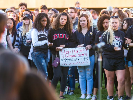 Southern Utah University holds a vigil for the Las
