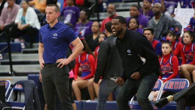 Cathedral City coach Justin Sobczyk (left) is in his first season coaching the Lions after playing for Palm Desert in high school.