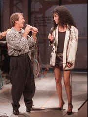 "-  Sonny Bono and Cher sang their hit song ""I Got You, Babe"" as they were reunited for the first time in over 10 years in 1987, on ""Late Night with David Letterman."""