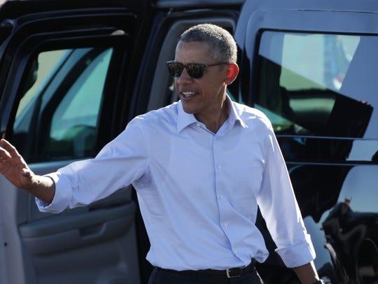 U.S. President Barack Obama arrives at Palm Springs