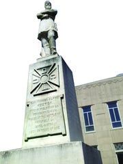 This statue of Confederate Gen. Alfred Mouton is located on public property in downtown Lafayette in front of the Le Centre International building.