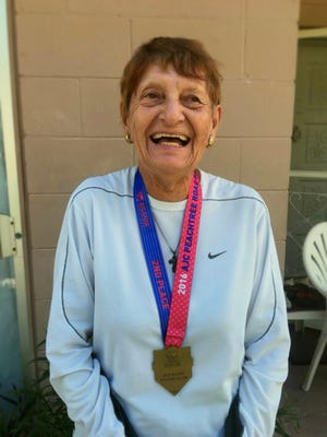 Tracy Osuch took second place in the 85-89 age group at the 47th AJC Peachtree Road Race.