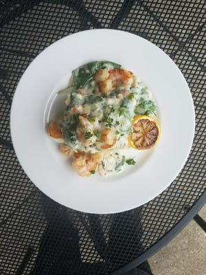 The seafood lasagna at Mangia! is loaded with all kinds of good seafood. It's a large dish, big enough to share for lunch.