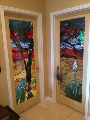 The home of Steve and Wanda Cannon at 6015 San Marcos boasts a number of interior doors with stained-glass pieces crafted by Wanda Cannon.