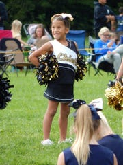 Ayriahna Spancake, a cheerleader for the Lebanon Friendship Chiefs pony football team, cheering during the 2017 season.  The Chiefs organization faced turmoil in November 2017 after their treasurer was accused of embezzling funds from the organization. However, Chiefs board members say they are looking forward to the 2018 season with a new treasurer and new policies in place.