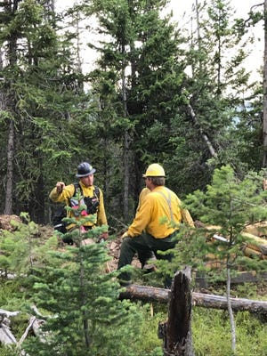 James Lozeau, a forester with the Confederated Salish and Kootenai Tribes, at the Garden Creek fire two miles northwest of Hot Springs.