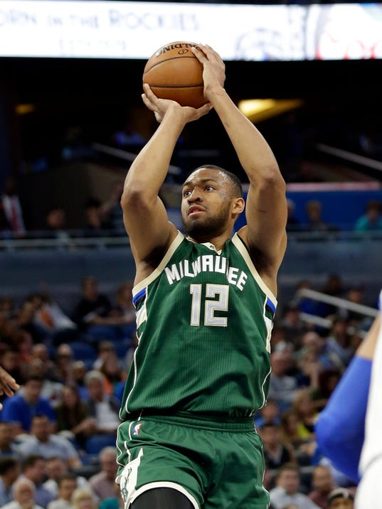In this Jan. 20, 2017, photo, Milwaukee Bucks' Jabari Parker (12) takes a shot against the Orlando Magic during the first half of an NBA basketball game in Orlando, Fla. Bucks forward Parker is set to return to the court Friday, Feb. 2, 2018, against the New York Knicks, nearly a year after being sidelined with the second major left knee injury of his career. (AP Photo/John Raoux)