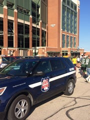 A Wisconsin State Patrol vehicle parked outside Lambeau Field in Green Bay for Packers Family Night on July 31, 2016.