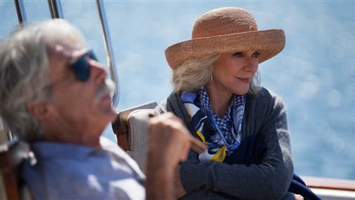 "This photo provided by Bleecker Street shows, Sam Elliott, left, as Bill, and Blythe Danner, as Carol, in a scene from the film,  ""I'll See You In My Dreams."" The movie releases in U.S. theaters on May 15, 2015. (Adam James /Bleecker Street via AP)"
