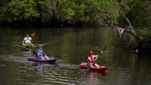 Kayaking along the lagoon in St. Lucie County.