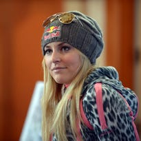 Lindsey Vonn (USA) speaks at a press conference following team training at Vail.