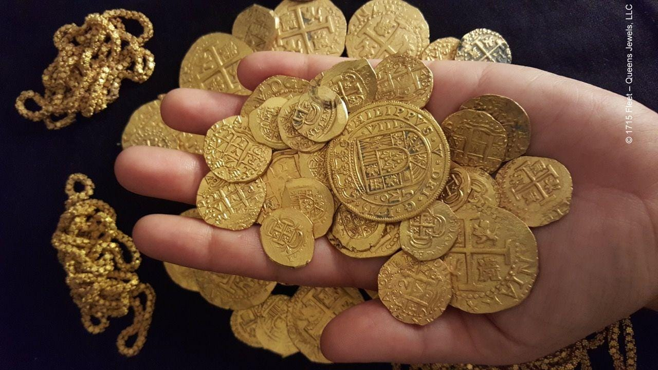 Spanish treasure from a sunken ship
