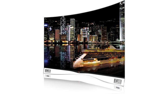 OLED-based curved TVs, such as this LG model, are recommended over LED-backlit LCD models, but they're more costly.